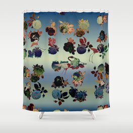roses and flamingoes Shower Curtain