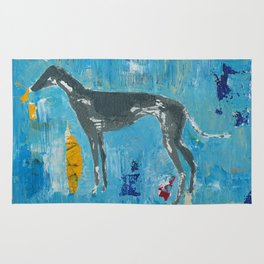 Greyhound Dog Abstract Painting Rug