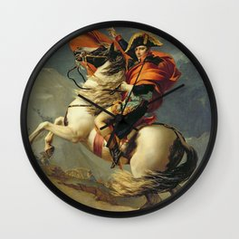 Jacques - Louis David - Napoleon Crossing The Alps On 20th May Wall Clock