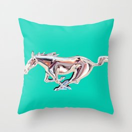 vintage teal Mustang .... Throw Pillow