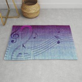 Aqua Purple Ombre Music Notes Rug