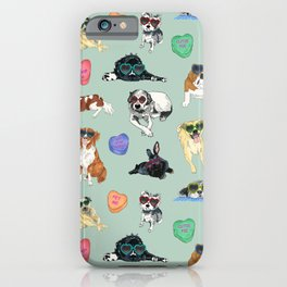 Valentine's Day Candy Hearts Puppy Love - Mint Green iPhone Case