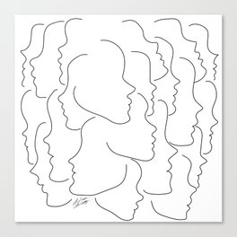 Face Your Truths - Multiple Black Simple Line Face Profiles Canvas Print