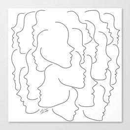 Face Your Truths - Multiple Black Simple Line Face Profiles Canvas Print