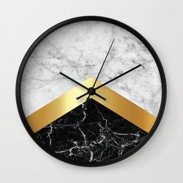 Arrows - White Marble, Gold & Black Granite #147 Wall Clock