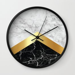 Arrows - White Marble, Gold & Black Granite #147 Wall Clock