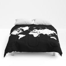 Minimalist World Map White on Black Background. Comforters
