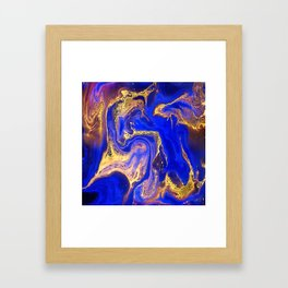 Marble gold and deep blue Framed Art Print