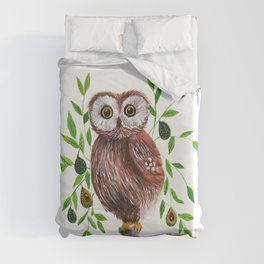 Owl with avocado illustration Duvet Cover