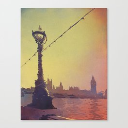 Big Ben of Houses of Parliament silhouetted- London Canvas Print