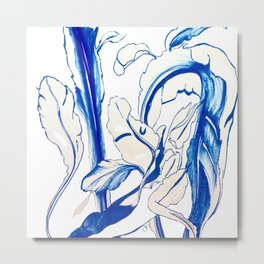 Plant in Blue Marker - Leaf of Life Miracle Leaf - Original Blue Metal Print