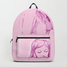 chica rosada pensando Backpack