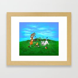 Easter - Spring-awakening - Puppy Capo with Rabbit and Chick Framed Art Print