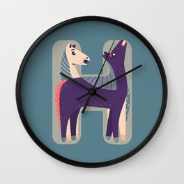 H for Horse Wall Clock
