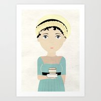 jane austen Art Prints featuring Jane Austen by Creo tu mundo
