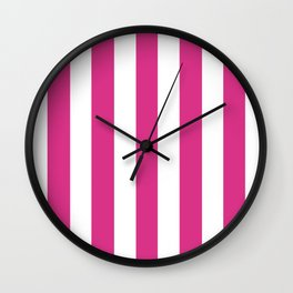 Deep cerise pink - solid color - white vertical lines pattern Wall Clock