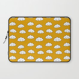 Dreaming clouds in honey mustard background Laptop Sleeve