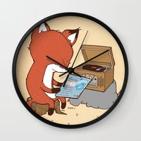 record Wall Clocks featuring Record Player by hatrobot