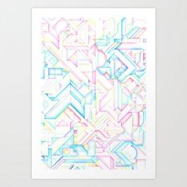 90s Inspired Print // GEOMETRIC PASTEL BRIGHT SHAPES PATTERN GRAPHIC DESIGN Art Print
