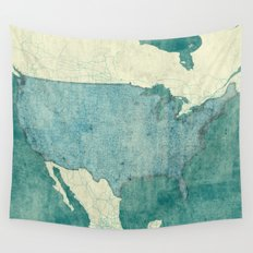 United States Of America Map Blue Vintage Wall Tapestry