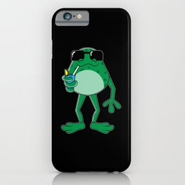 Cool funny Frog with Sunglasses Cocktail iPhone Case