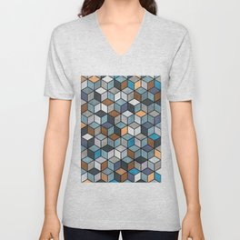 Colorful Concrete Cubes - Blue, Grey, Brown Unisex V-Neck