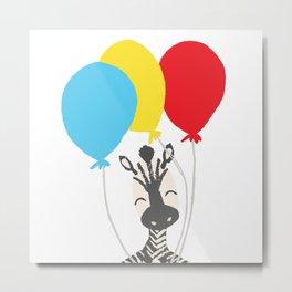 Zebra with Balloons Metal Print