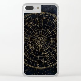 Golden Star Map Clear iPhone Case