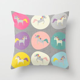 Cute Unicorn polka dots grey pastel colors and linen texture #homedecor #apparel #stationary #kids Throw Pillow