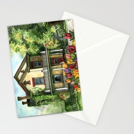 Farmhouse with Spring Tulips Stationery Cards