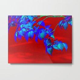 Red Sky And Blue Leaves Metal Print