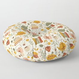 Flowery Books and Tea Floor Pillow