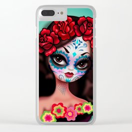 Day of the dead Girl with Roses Clear iPhone Case