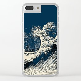 Japanese Waves Blue Clear iPhone Case