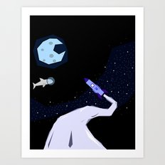 Off to space Art Print