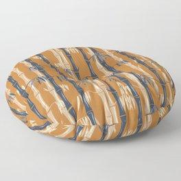 Bamboo Forest Pattern - Rust Tan Blue Floor Pillow