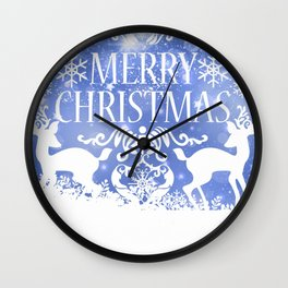 Merry Christmas Reindeers Blue Holiday Festive Wall Clock