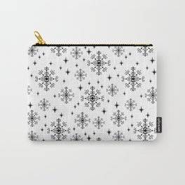 Snowflakes winter christmas minimal holiday black and white decor gifts Carry-All Pouch