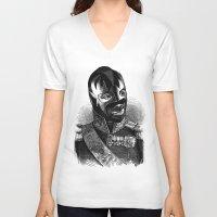wrestling V-neck T-shirts featuring WRESTLING MASK 8 by DIVIDUS