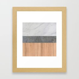 Carrara Marble, Concrete, and Teak Wood Abstract Framed Art Print