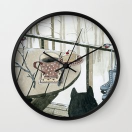 Winter Breakfast on the Porch Wall Clock