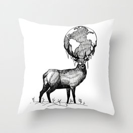 Deer God (Stag & Earth Illustration) - Black and white edition Throw Pillow