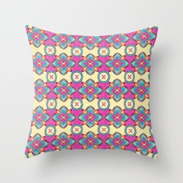 Lily Pulitzer Inspired Spanish Tiles Pattern Throw Pillow