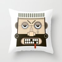 mythology Throw Pillows featuring Starkad's Face. Scandinavian. Norse Mythology by FOUR SECOND MEMORY