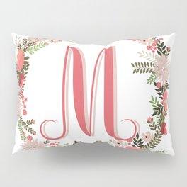 Personal monogram letter 'M' flower wreath Pillow Sham