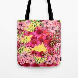 FUCHSIA-PINK FLOWERS YELLOW ART PATTERNS Tote Bag