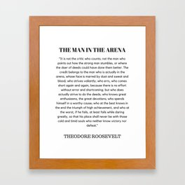 The Man In The Arena Speech Theodore Roosevelt Framed Art Print