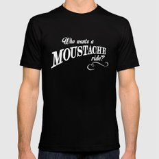 WHO WANTS A MOUSTACHE RIDE? - Super Troopers Mens Fitted Tee Black MEDIUM