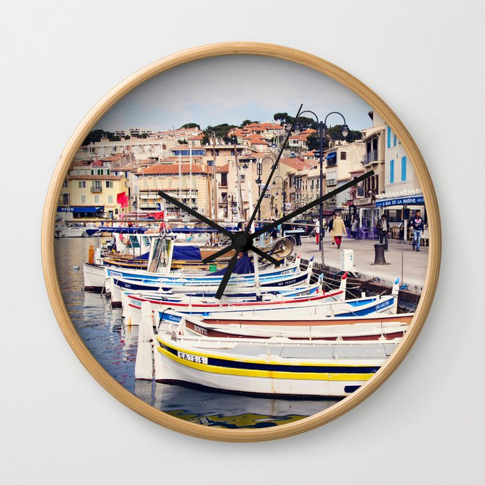 Boats in Cassis Harbor Wall Clock