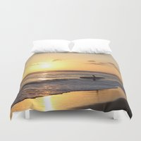 surfer Duvet Covers featuring Sundown Surfer by kelly*n photography